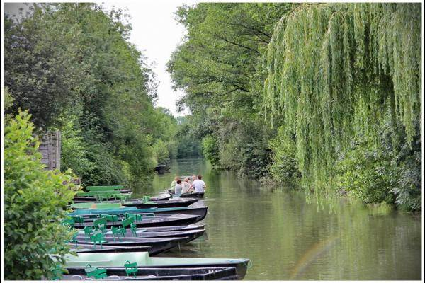 """Barques prêtes pour une """"croisière"""" dans le Marais"""