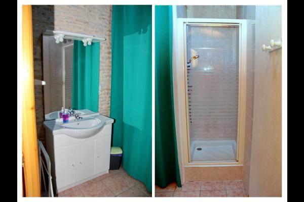 La salle d'eau : le lavabo, la douche