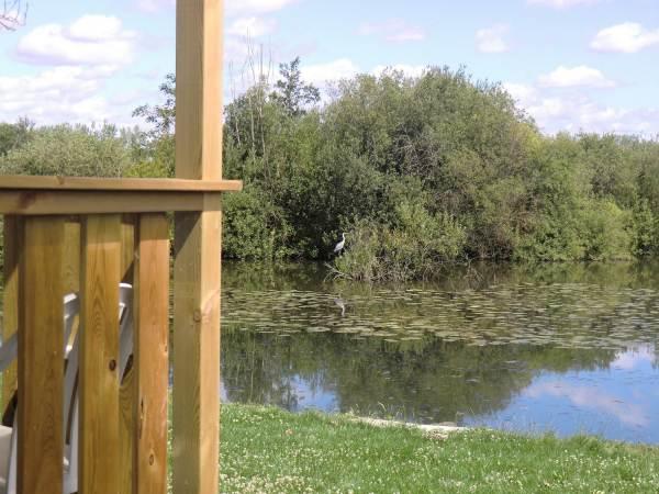 Vue sur les étangs depuis le Mobil Home