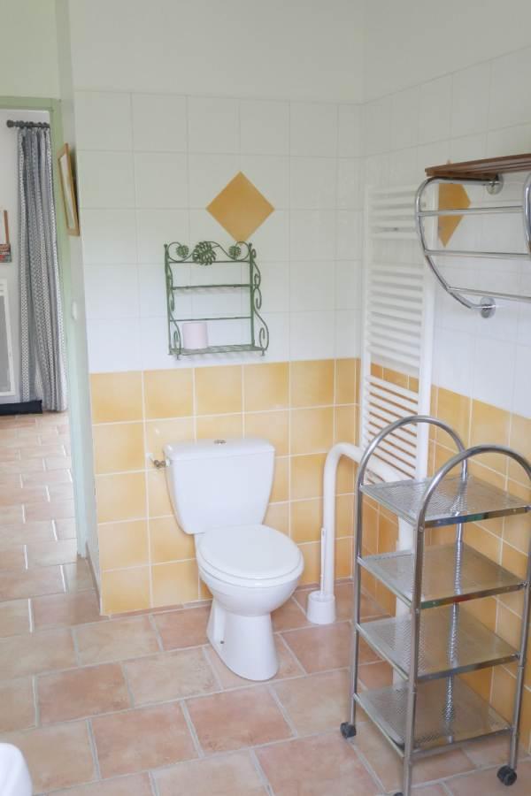 Toilettes dans salle d'eau avec barres d'appui
