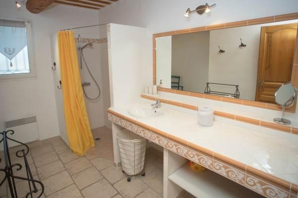 Une grande salle de bain avec douche à l'italienne