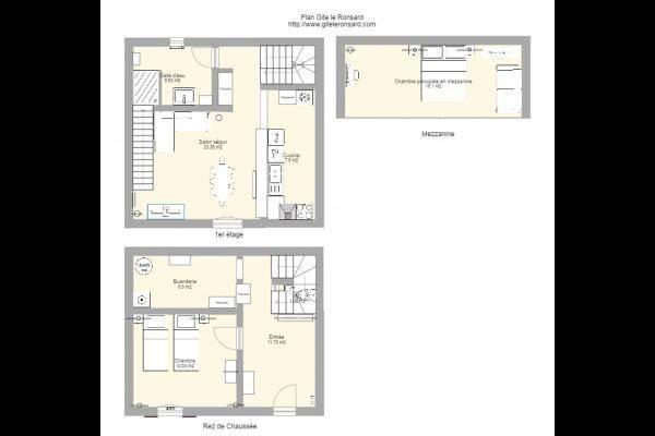 Plan gite le ronsard : RDC, 1er étage, mezzanine. 85 m2