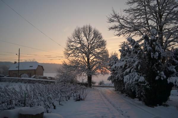 soleil levant sur le gite hiver 2018