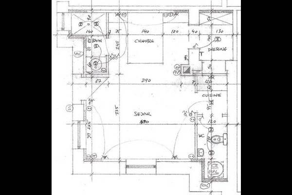 plan de l'appartement meublé au centre ville et au calme d'un rez de jardin