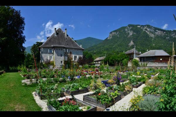 jardin bio en carrés visible depuis le gite loft du chateau des allues