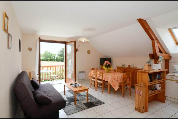 Salon et espace repas lumineux accès balcon