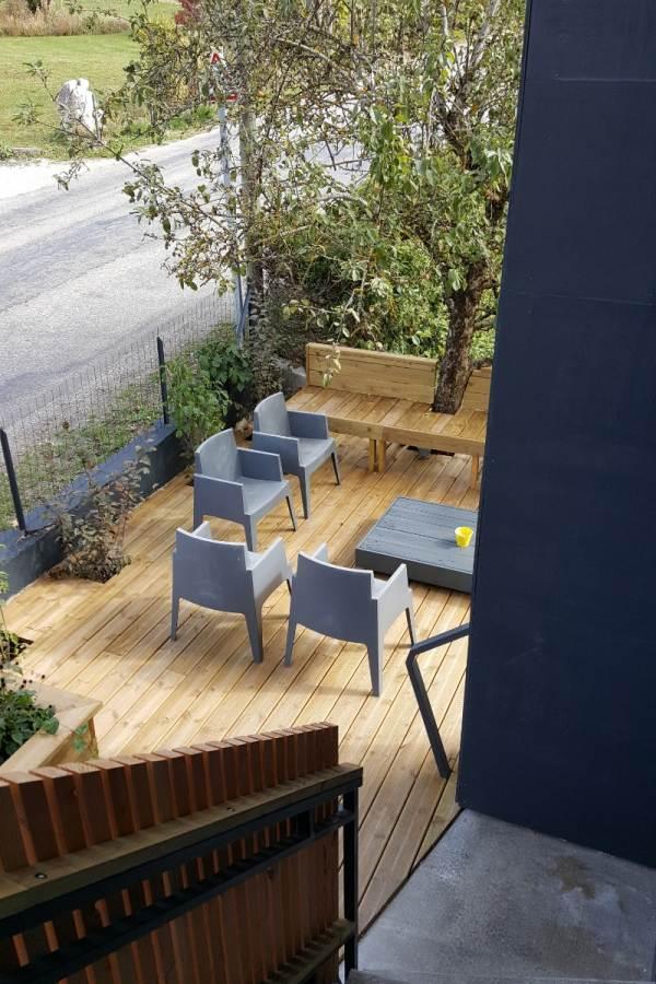 Terrasse 20 m2 en RDJ