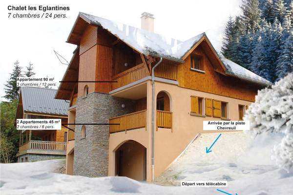 Chalet Les Eglantines(3 appartements): location Juillet / Aout et de Décembre à Avril