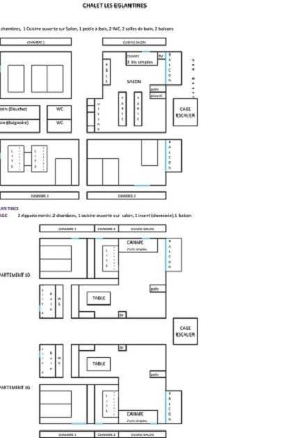 Les pièces et chambres  des 3 appartements / 3 tables repas: 23 pers
