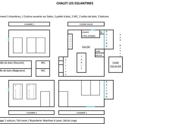 Plan appartement 3 chambres: jusqu'à 11 pers en chambre (à 13 pers)