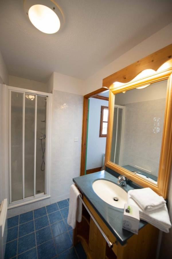 1 chambre avec salle de bain avec douche